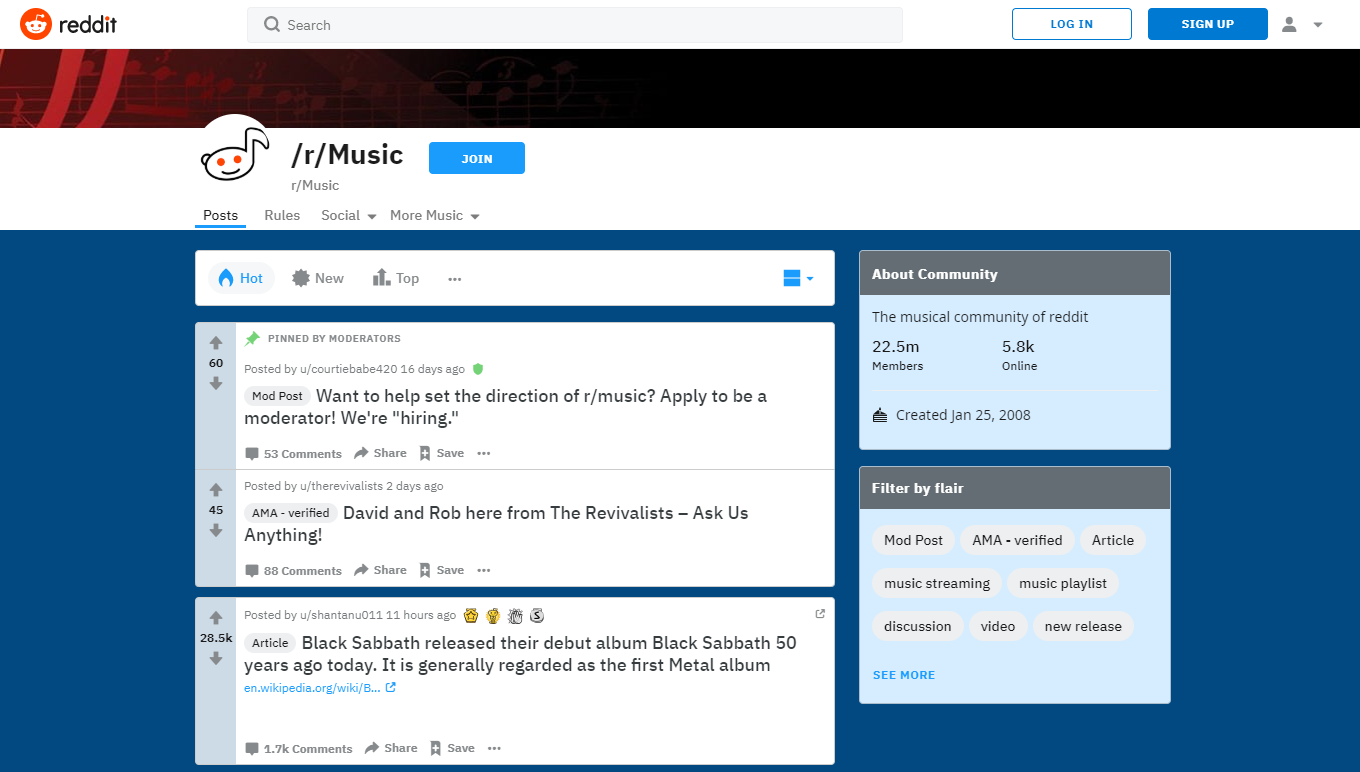 6 of the best music related sites and blogs reddit