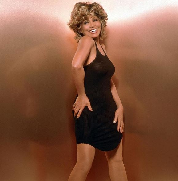 Tina Turner in her black dress